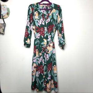 Ann Taylor Loft Green Floral Dress with tie waist